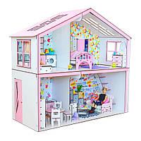 Домик для кукол Барби. Волшебный Коттедж для Барби с мебелью, обоями, текстилем и шторками (750х340х800 мм)
