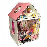 Домик для кукол Барби. Домик для Барби с мебелью, обоями, текстилем и шторками (510х340х340 мм)