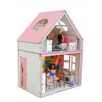 Домик для кукол Барби. Загородный дом для Барби с мебелью, обоями, текстилем и шторками (690х340х500 мм)