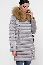 Зимнее стеганое женское пальто с мехом