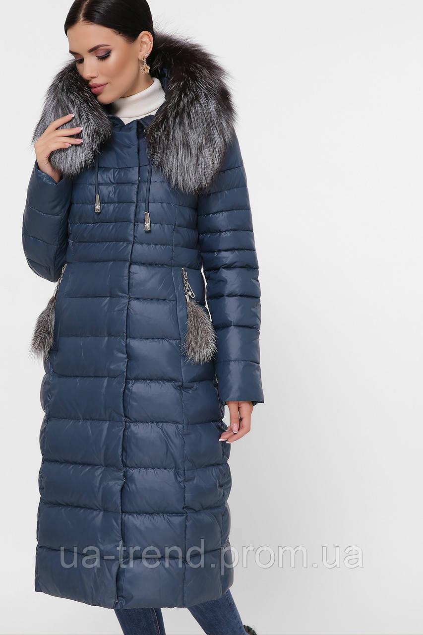 Довге зимове пальто з хутром