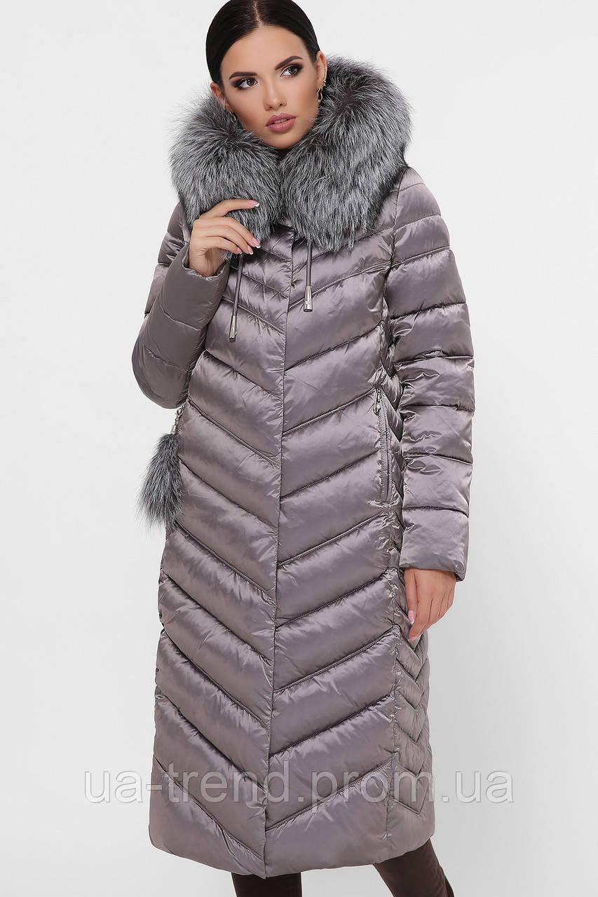 Женское стеганое зимнее пальто ниже колен