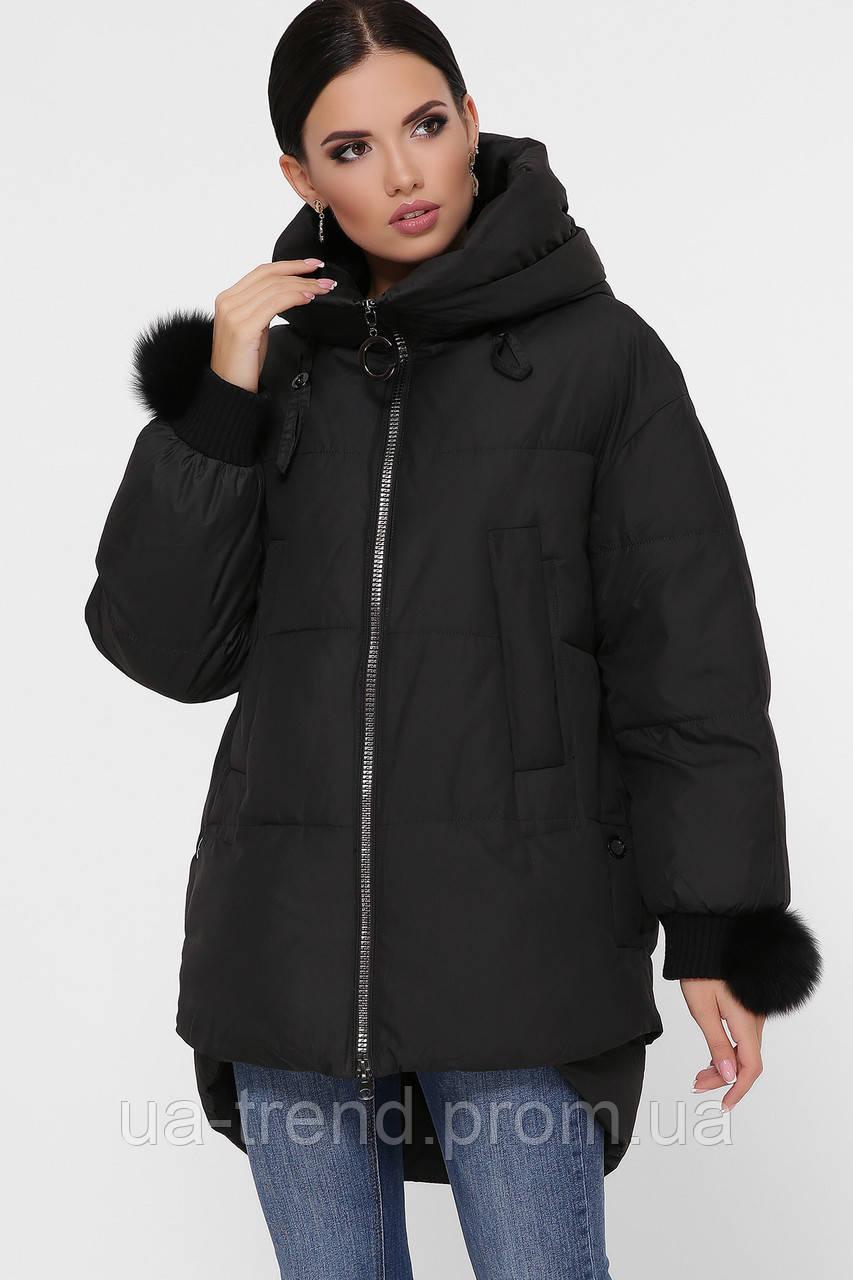 Женская зимняя куртка оверсайз черная