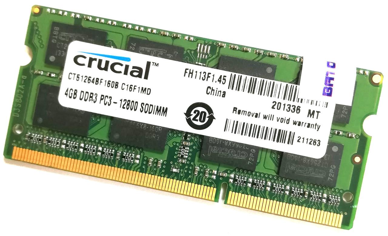 Оперативная память для ноутбука Crucial SODIMM DDR3 4Gb 1600MHz 12800s CL11 (CT51264BF160B.C16F1MD) Б/У