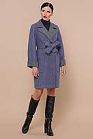 Женское осеннее пальто под пояс синего цвета