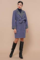 Жіноче осіннє пальто під пояс синього кольору