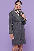 Женское серое пальто из шерсти