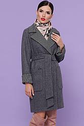 Жіноче сіре пальто з вовни