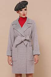 Сіре пальто жіноче осінь-весна з поясом