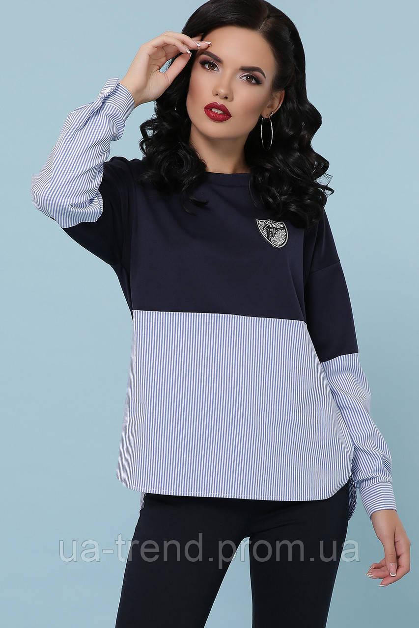 Женская кофта с низом в виде рубашки