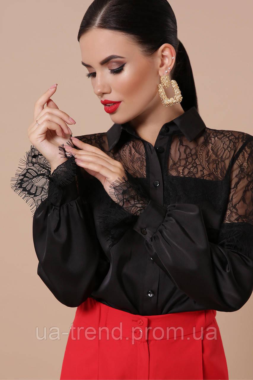 Жіноча шовкова блузка з гіпюром