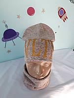 """Комплект ангора двойная """"Валентино"""" шапка и баф размер 52-56 подросток., фото 1"""