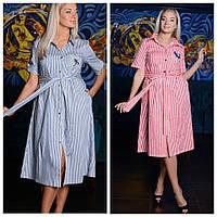 Платье-халат из тонкой летней ткани, разклешённое, принт полоска, р.50,52 код 1487М