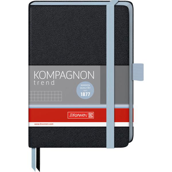 Книга записная Компаньйон черная с голубым срезом А6- клетка
