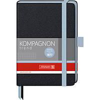 Книга записная Компаньйон черная с голубым срезом А6- клетка, фото 1