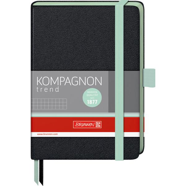 Книга записная Компаньон черная с мятным срезом А6- клетка