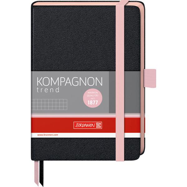 Книга записная Компаньон черная с розовым срезом А6- клетка