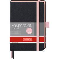 Книга записная Компаньон черная с розовым срезом А6- клетка, фото 1