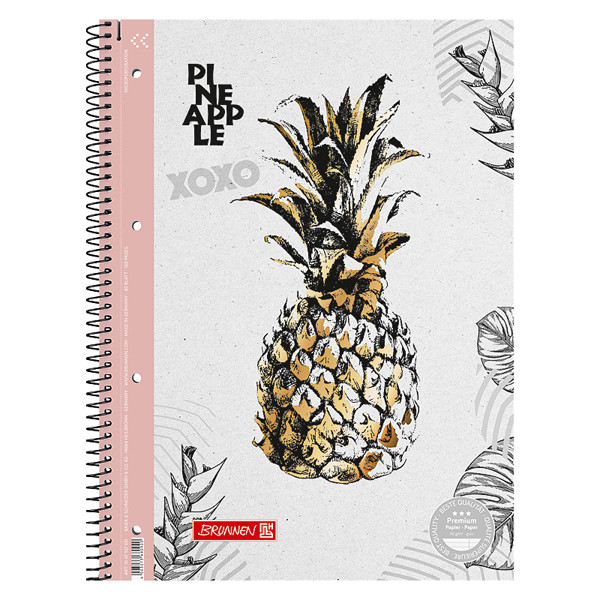 Колледж-блок А4 Premium, линейка, Pineapple бело-розовый