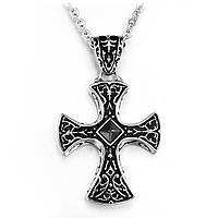 Кулон стальной в виде массивного креста