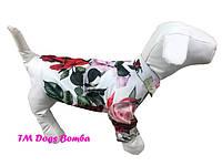 Рубашка для собак белая с цветочками