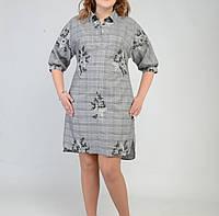 Платье-рубашка удлиненное с вышивкой из стрейч-коттона. (р-р-54). код 2999М