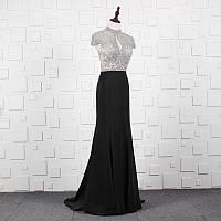 Роскошное черное платье коллекция 2019-2020. Вечірнє плаття рибка. Платье ручной работы вечернее с бисером