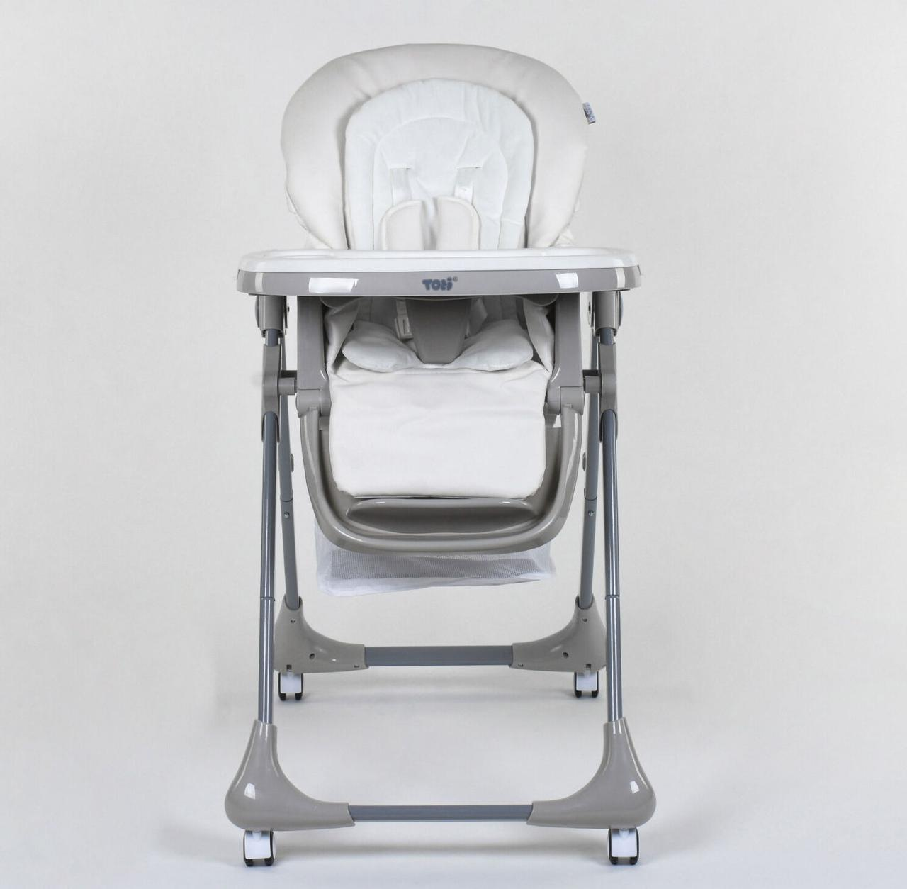 Стульчик для кормления Toti CB-4018 (1) мягкий PU, мягкий вкладыш, 4 колеса, съемный столик, в коробке