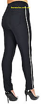Жіночі класичні штани з лампасами чорного кольору великих розмірів