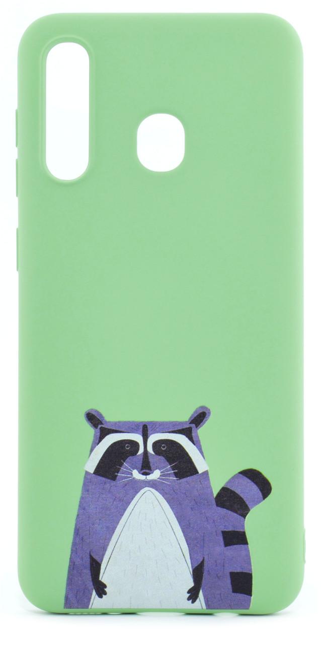 Чохол-накладка NZY для Samsung Galaxy A20 (2019) Viva Print TPU Єнот Зелений (126020)