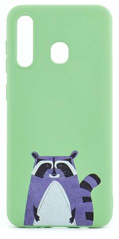 Чохол-накладка NZY для Samsung Galaxy A20 (2019) Viva Print TPU Єнот Зелений (126020), фото 2