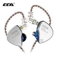 Дротові навушники KZ ССА-CA4 Mic двухдрайверные гібридні Original Блакитний