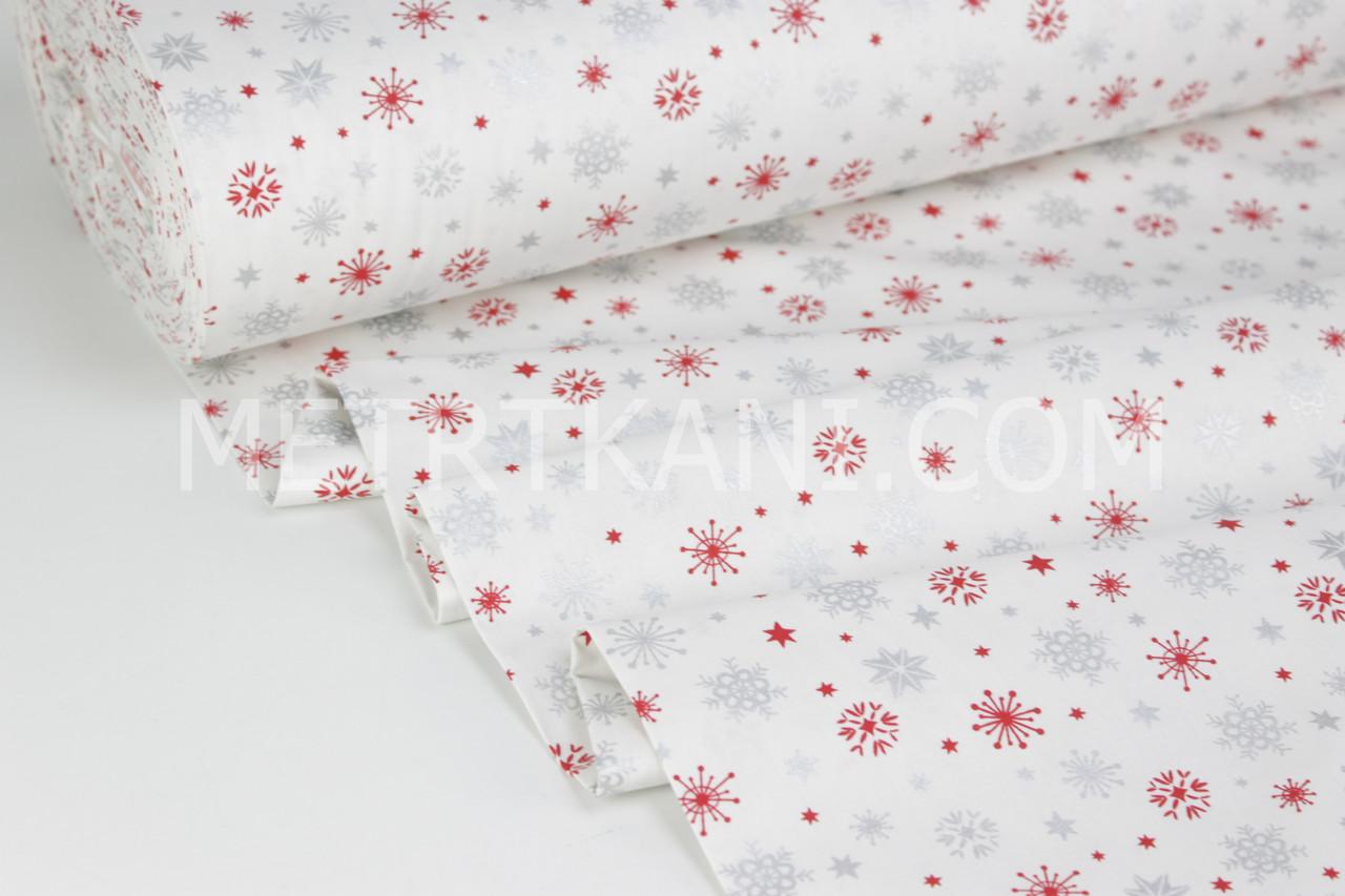 """Ткань ранфорс Турция 240 см  """"Снежинки """" серебряные и красные на белом (глиттер) № H-2998-11"""