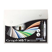Набор двусторонних Brush маркеров Architecture, 24шт, Graph'it