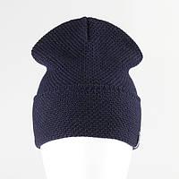 Молодежная шапка лопата рожки KANTAA тем.синий