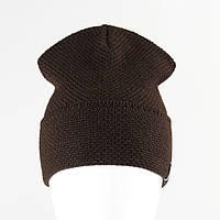 Вязанная шапка лопата рожки KANTAA коричневый