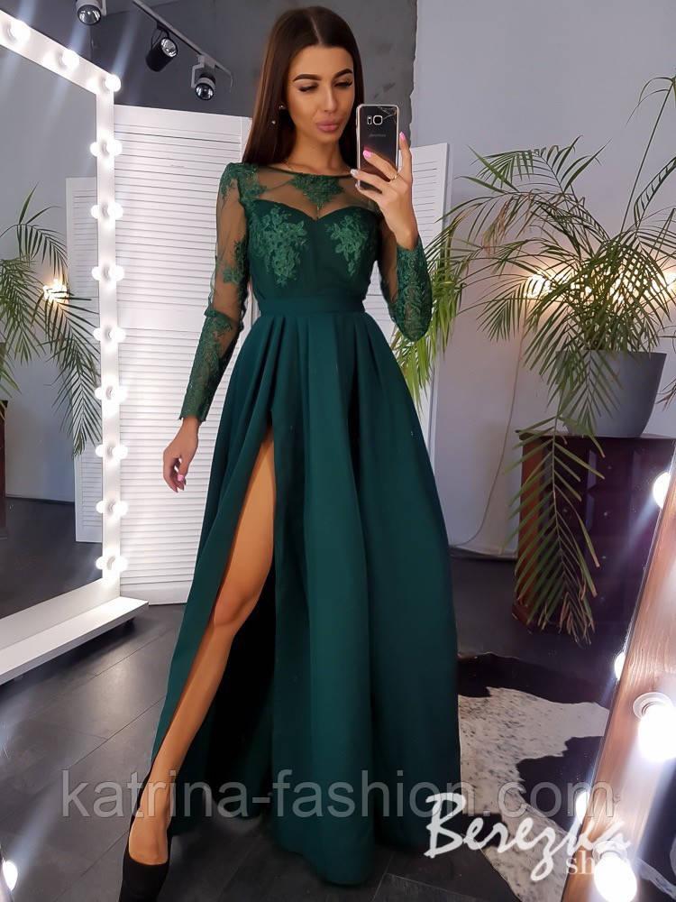 Женское эффектное однотонное платье-макси с кружевом (в расцветках)