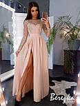 Женское эффектное однотонное платье-макси с кружевом (в расцветках), фото 7