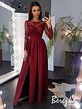 Женское эффектное однотонное платье-макси с кружевом (в расцветках), фото 2