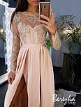 Женское эффектное однотонное платье-макси с кружевом (в расцветках), фото 6