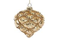 Елочное украшение в форме луковицы с декором из бусин 8см, цвет - золото, стекло, в упаковке - 6шт. (118-518)