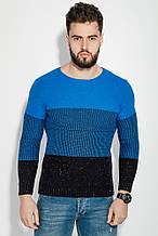 Свитер мужской комбинированаая вязка  AG-0008418 Ультрамарин-черный