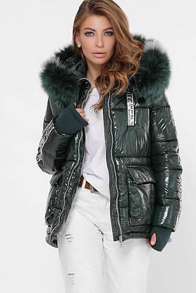 Женская зимняя куртка короткая с мехом зеленая, фото 3