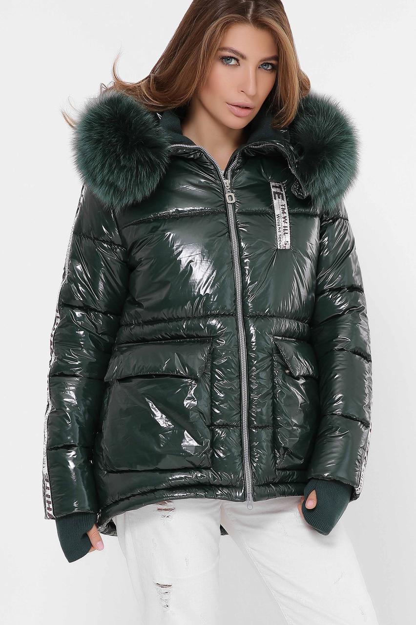Женская зимняя куртка короткая с мехом зеленая