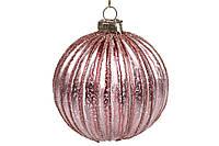 Елочный шар 8см рельефной формы с декором из глиттера, стекло, в упаковке 6шт. (NY15-450)