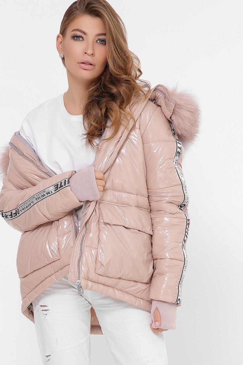 Женская зимняя куртка короткая с мехом пудра