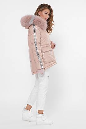 Женская зимняя куртка короткая с мехом пудра, фото 2