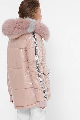 Женская зимняя куртка короткая с мехом пудра, фото 3