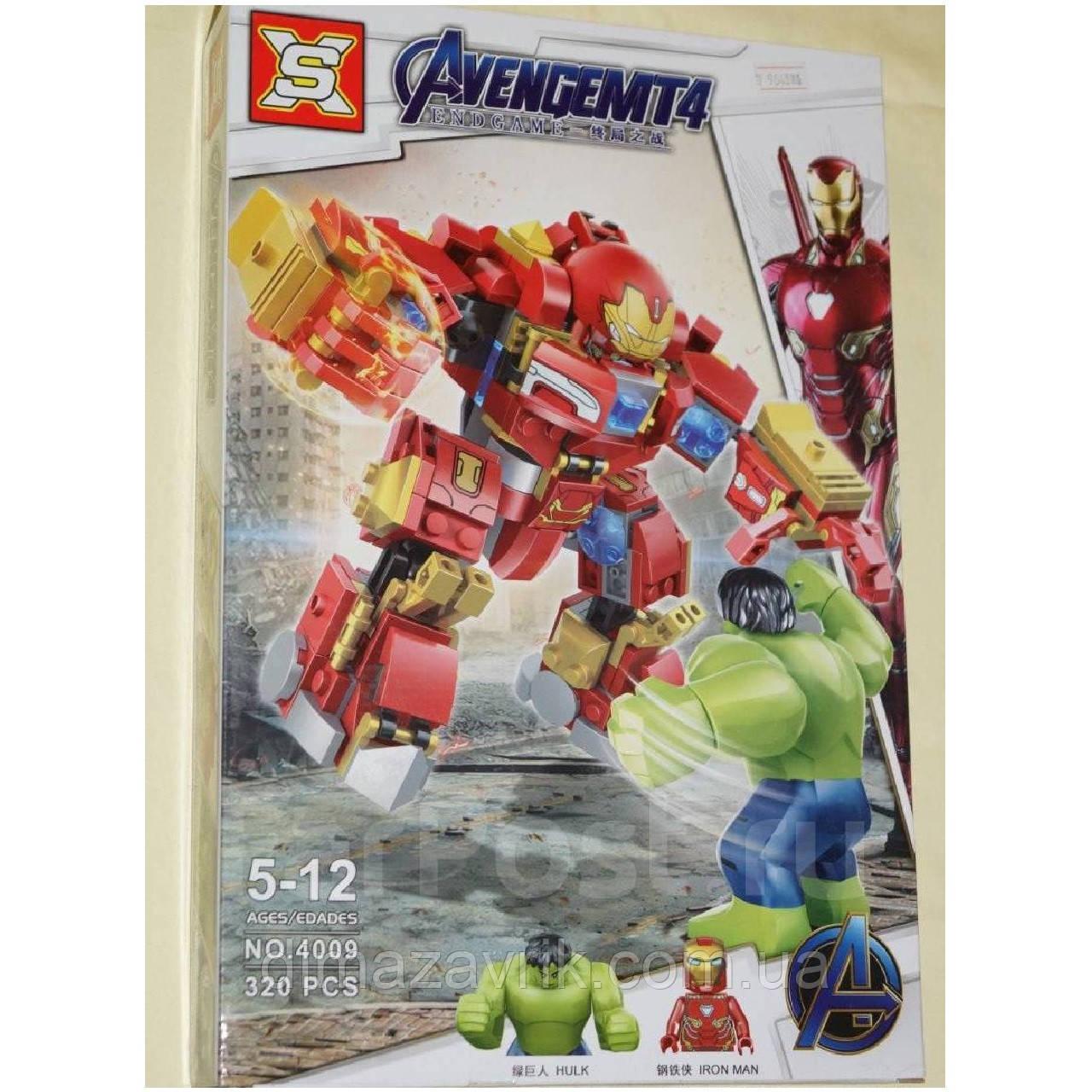 "Конструктор SX4009 (Аналог Lego Super Heroes) ""Железный человек и Халк""320 деталей"