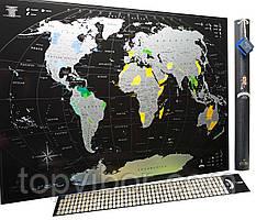 🔝 Скретч карта, My Map Black Edition, подарок для путешественников, Silver, ENG | 🎁%🚚